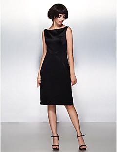 Cocktail Party Dress - Black Sheath/Column Bateau Knee-length Satin