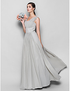 Lanting Bride® Floor-length Chiffon Bridesmaid Dress - Sheath / Column Square Plus Size / Petite with Draping