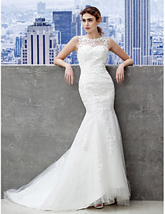 Lanting Bride® Trumpet / Mermaid Plus Sizes / Petite Wedding Dress Lacy Looks / Open Back Sweep / Brush Train Scalloped-Edge Lace / Tulle