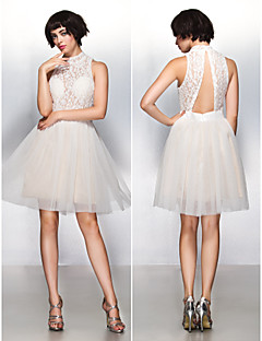 Cocktail Party Dress - Ivory A-line High Neck Knee-length Lace/Tulle