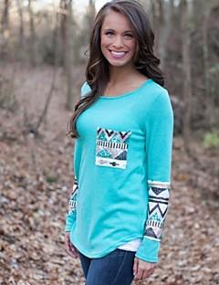 Women's Vintage / Cute Regular Pullover,Patchwork Blue / Pink / White / Orange Round Neck Long Sleeve Cotton Fall Medium Micro-elastic