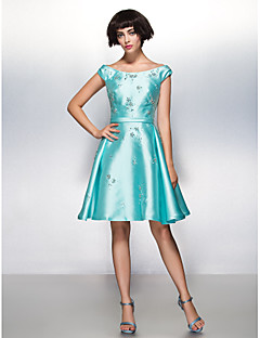 TS Couture® Cocktail Party Dress - Jade A-line Scoop Knee-length Satin