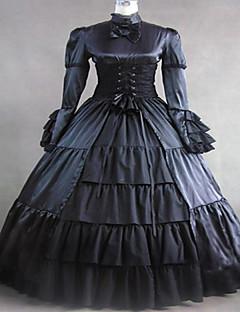 steampunk®black satin middelalderkjole kjole lang gotisk kjole halloween kostyme