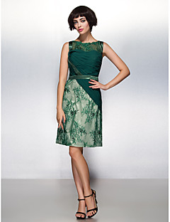 Cocktail Party Dress - Dark Green Sheath/Column Scoop Knee-length Chiffon / Lace / Tulle