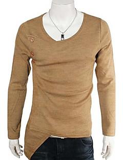 Men's Solid Casual / Sport T-Shirt,Cotton Blend Long Sleeve-Black / Purple / Yellow