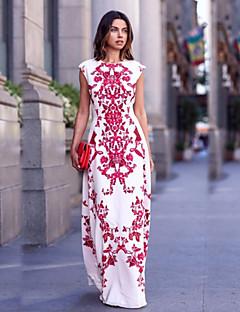 Mulheres Bandagem Vestido,Festa/Coquetel Estampado Decote Redondo Longo Sem Manga Branco Algodão Verão