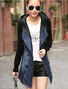 Women's Patchwork Blue Denim / Knitwear Hooded Trench Coat , Casual