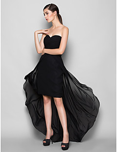 Lanting Bride® Asymmetrical Chiffon Bridesmaid Dress - Sheath / Column Sweetheart Plus Size / Petite with Criss Cross