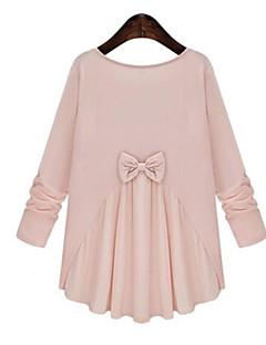 Mulheres Camiseta Casual Plus Sizes Todas as Estações,Sólido / Patchwork Rosa / Branco / Preto Algodão / Poliéster Decote RedondoManga