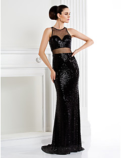 Formal Evening / Black Tie Gala Dress Trumpet/Mermaid Jewel Sweep/Brush Train Sequined