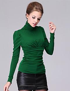 Blusa Da donna Increspato A collo alto Manica lunga Cotone / Rayon