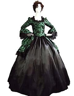 /שמלותחתיכה אחת לוליטה גותי Steampunk® / ויקטוריאני Cosplay שמלות לוליטה ירוק אחיד שרוול ארוך ארוך שמלה ל נשים סאטן / תחרה