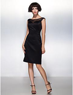 Cocktail Party Dress - Black Sheath/Column Scoop Knee-length Satin