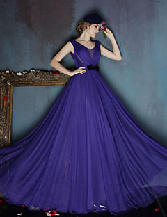 Dress - Ruby/Regency A-line V-neck Sweep/Brush Train Satin/Tulle
