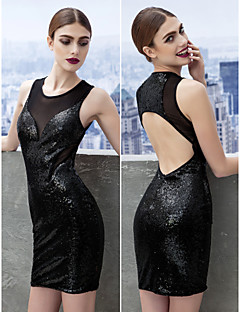 Cocktail Party Dress - Black Sheath/Column Scoop Short/Mini Sequined