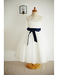 A-line Tea-length Flower Girl Dress - Lace / Tulle Sleeveless Scoop with