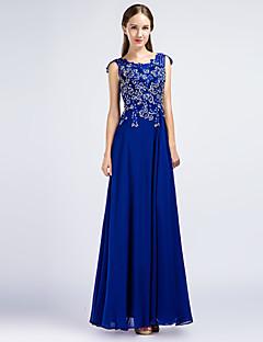 Formal Evening Dress Sheath / Column Jewel Floor-length Chiffon with Appliques / Beading