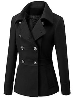 Women's Fashion Slim Beam Waist Long Sleeved Woolen Coat