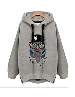 Women's Print White / Gray Hoodies , Casual / Print / Plus Sizes Hooded Long Sleeve