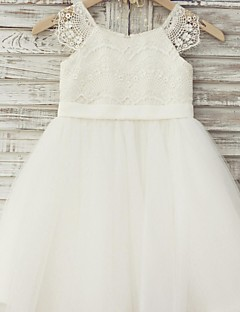 A-Line Knee Length Flower Girl Dress - Lace Tulle Short Sleeves Scoop Neck with Ribbon