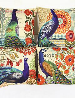 ensemble de 4 paon couverture taie d'oreiller canapé décoration de la maison de coussin (17 * de 17 pouces)