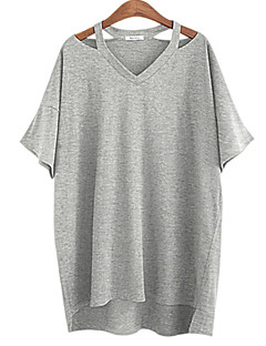 Kortærmet V-hals Medium Dame Hvid Sort Grå Ensfarvet Sommer Simpel Afslappet/Hverdag Plusstørrelser T-shirt,Bomuld
