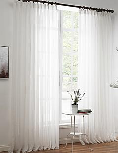 Două Panouri Tratamentul fereastră Rococo European Designer  Țara Modern Neoclasic Mediteranean , Solid SufragerieAmestec de In/