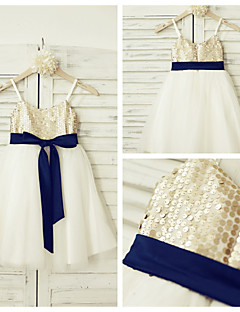 A-line Knee-length Flower Girl Dress - Tulle / Sequined Sleeveless