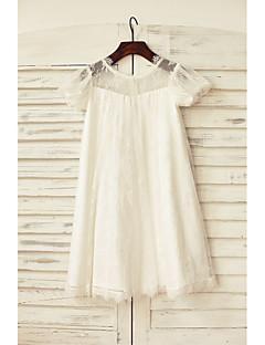 Sheath / Column Knee-length Flower Girl Dress - Lace Short Sleeve Scoop with