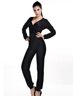Langærmet Kvinders Hverdag Jumpsuits Mikroelastisk Polyester