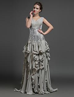 Formal Evening Dress - Silver Sheath/Column V-neck Floor-length Chiffon