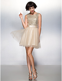 Cocktail Party Dress - Champagne A-line Scoop Short/Mini Tulle / Sequined