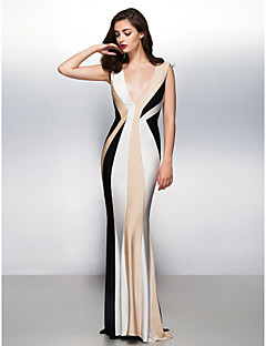 Formal Evening Dress - Multi-color Trumpet/Mermaid V-neck Sweep/Brush Train Jersey