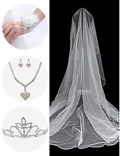Set Hochzeit Zubehör (Schleier& Handgelenk Corsage& Kopfschmuck& Halskette& Ohrringe)