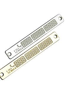 차량 내부 금은 새로운 주차 알림 전화 번호 카드 빛나는 전화 번호 금속 플레이트