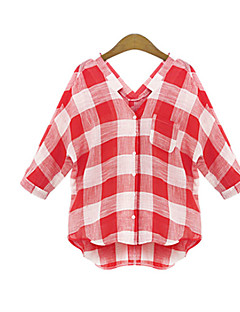 Kaley Women's Character Red Casual Shirts , Casual / Party V-Neck ½ Length Sleeve Plus Size
