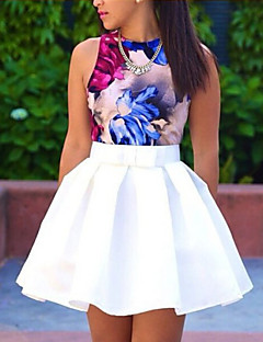 Women's Solid White Skirts , Sexy Above Knee