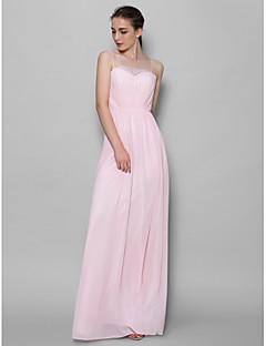lanting 바닥 길이 쉬폰 들러리 드레스 - 얼굴이 빨 핑크 칼집 / 칼럼 스파게티 스트랩