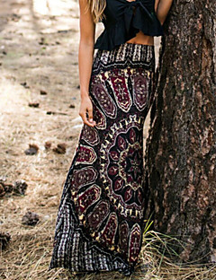 Women's Print Black Skirts , Sexy Maxi
