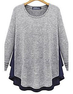Women's Patchwork Gray T-shirt , Round Neck Long Sleeve