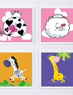 Abstrakt / Landschaft / Blumenmuster/Botanisch / Tier / Stillleben / Zeichentrickfilm / Architektur Gerahmtes Set Wall Art,Polystyren Weiß