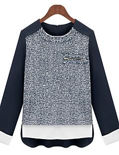 Damen Hemd  -  Mehrschichtig Andere Langarm Rundhalsausschnitt