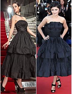regreso al hogar formal de la tarde / vestido de baile militar - además de negro los tamaños de una línea sin tirantes de té de longitud tafetán