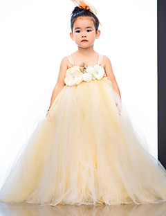 Ball Gown Ankle-length Flower Girl Dress - Tulle / Polyester Sleeveless