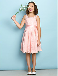 Lanting Bride® Knee-length Lace Junior Bridesmaid Dress - Mini Me A-line Scoop with Lace