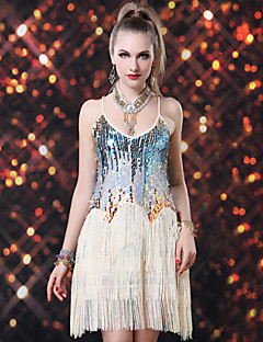Latin Dance Dresses Women's Performance Spandex / Sequined Sequins / Tassel(s) 1 Piece Sleeveless Dress Dress length : about 92cm