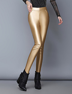 Women's Solid Red / White / Black / Gold / Silver Skinny Pants , Bodycon / Casual