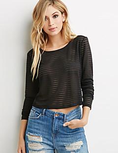 Langermet T-skjorte Rund hals Netting Netting / Polyester Kvinner