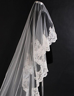 Bride Wedding Veil One-tier Cathedral Veils Lace Applique Edge