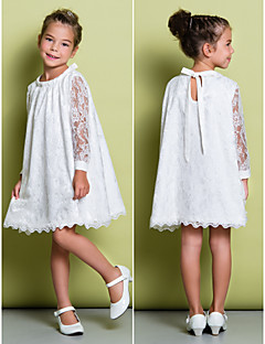 Lanting Bride A-line Knee-length Flower Girl Dress - Lace Long Sleeve Scoop with Lace